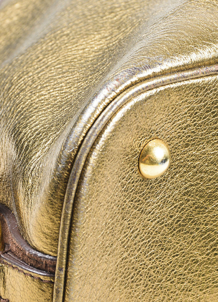 Gold Metallic Yves Saint Laurent Leather Tote Bag Detail