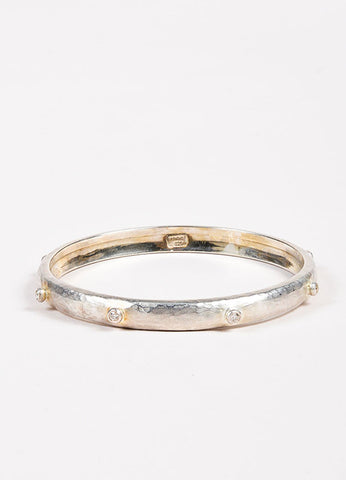Yossi Harari Sterling Silver Bezel Diamond Hammered Bangle Bracelet Frontview