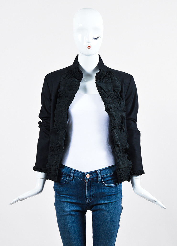 Black Yves Saint Laurent Wool Pleated Ruffle Trim Jacket Frontview