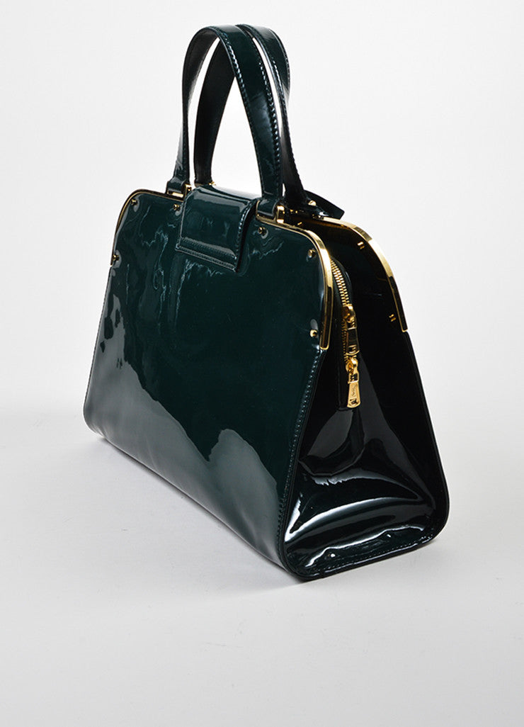 "Yves Saint Laurent Green Patent Leather ""Large Uptown"" Bag Sideview"