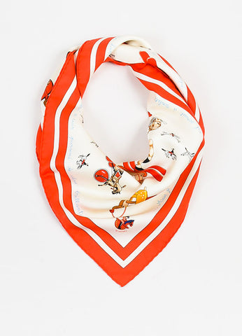 "Hermes ""Raconte-moi Le Cheval"" Red Cream Silk 90cm Scarf Frontview"