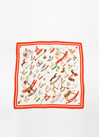 "Hermes ""Raconte-moi Le Cheval"" Red Cream Silk 90cm Scarf Frontview 2"