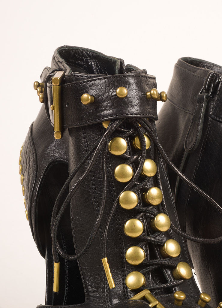Alexander McQueen Black and Gold Toned Leather Stud Lace Up Peep Toe Booties Detail