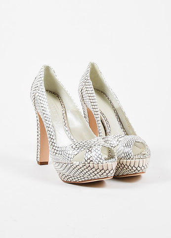 Alexander McQueen Cream and Grey Python Block High Heel Peep Toe Pumps Frontview