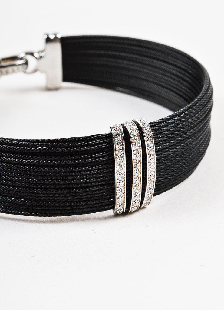 Alor Black Stainless Steel 18K White Gold Diamond Cable Bracelet Detail