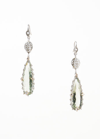 Anthony Nak Platinum, Diamonds and Green Prasiolite Drop Earrings Frontview