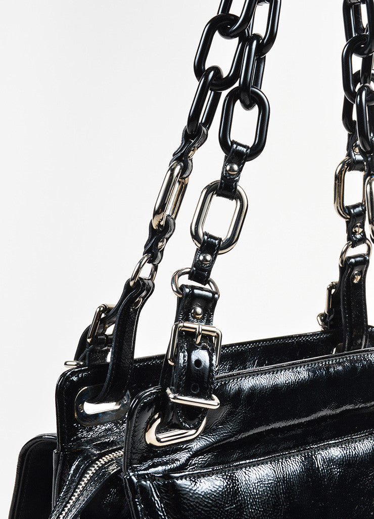 "Balenciaga Black and Turquoise Patent Leather Stingray Buckle ""Cherche Midi"" Bag Detail 2"