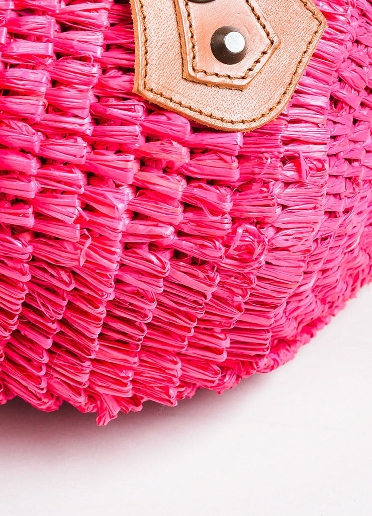 Hot Pink Balenciaga Raffia Whip Stitched Handle Tote Bag Detail