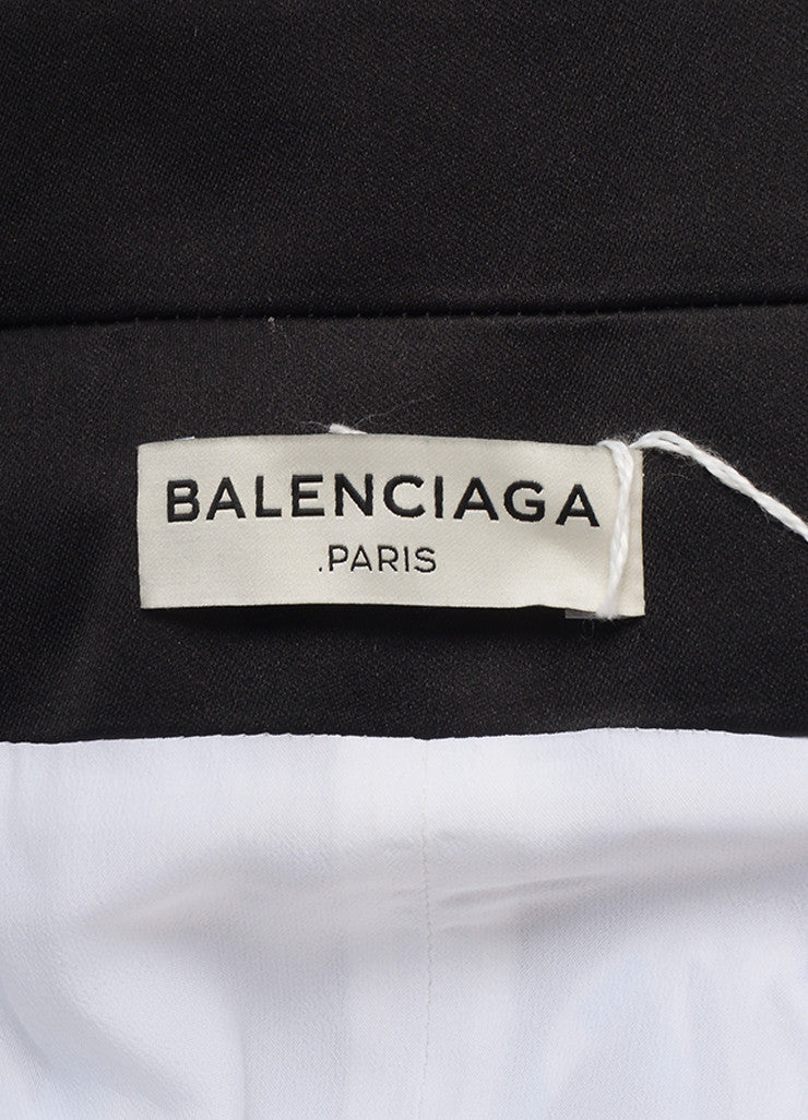 Balenciaga New With Tags Black, Blue, and Grey Graphic Print Drape Skirt Brand