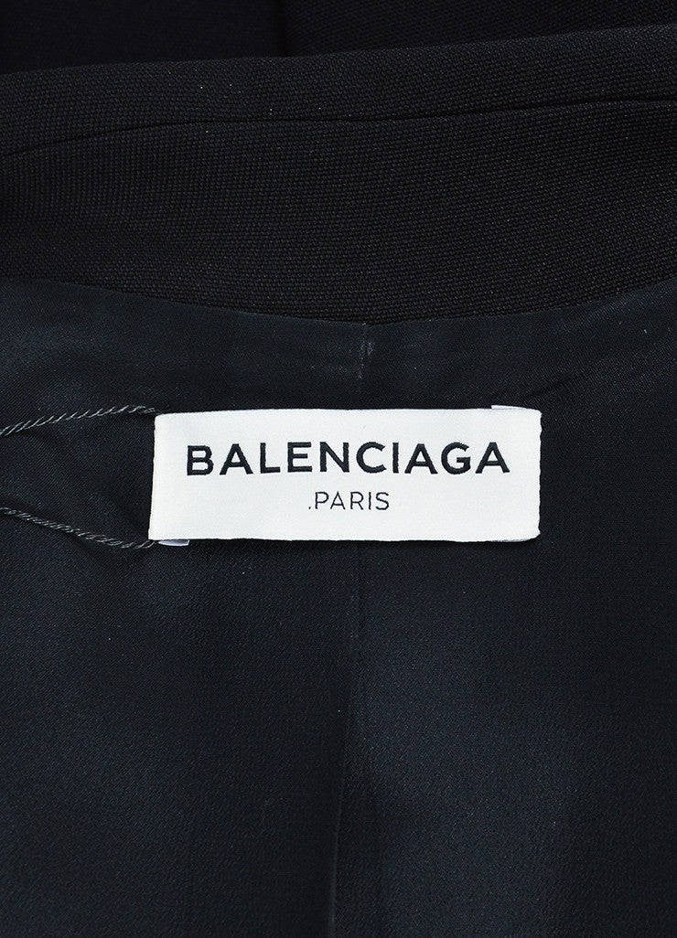 Black Balenciaga Satin and Wool Double Breasted Peplum Jacket Brand