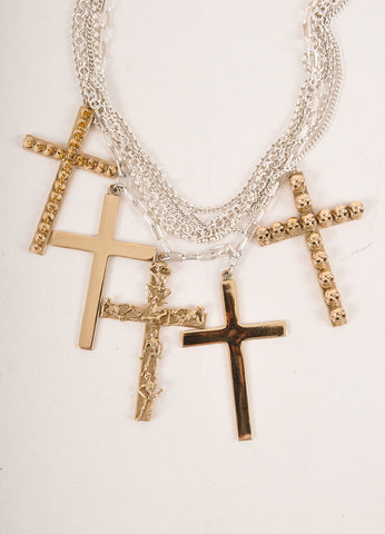 Bernard Delettrez New Silver Toned and Gold Toned Multi-Chain Cross Pendant Necklace Detail