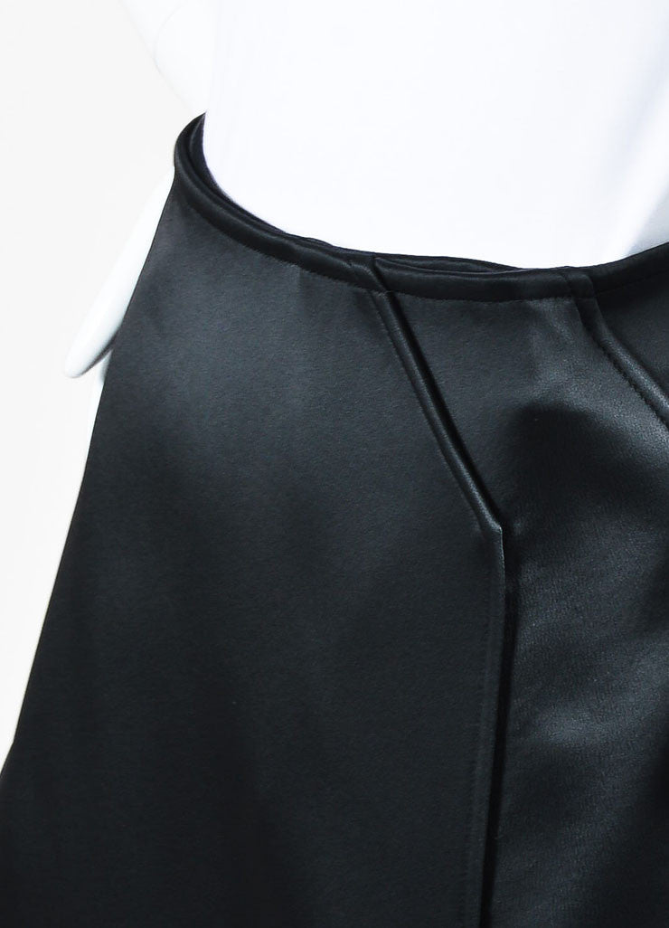 Celine Black Satin Wrap Tuxedo Skirt Detail