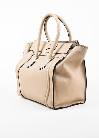 "Celine Taupe Grain Leather Top Handle ""Mini Luggage"" Tote Bag Sideview"