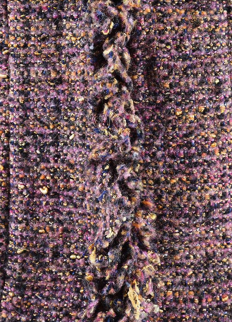 Chanel Dark Purple Wool and Mohair Tweed Ruffle Trim Jacket Detail