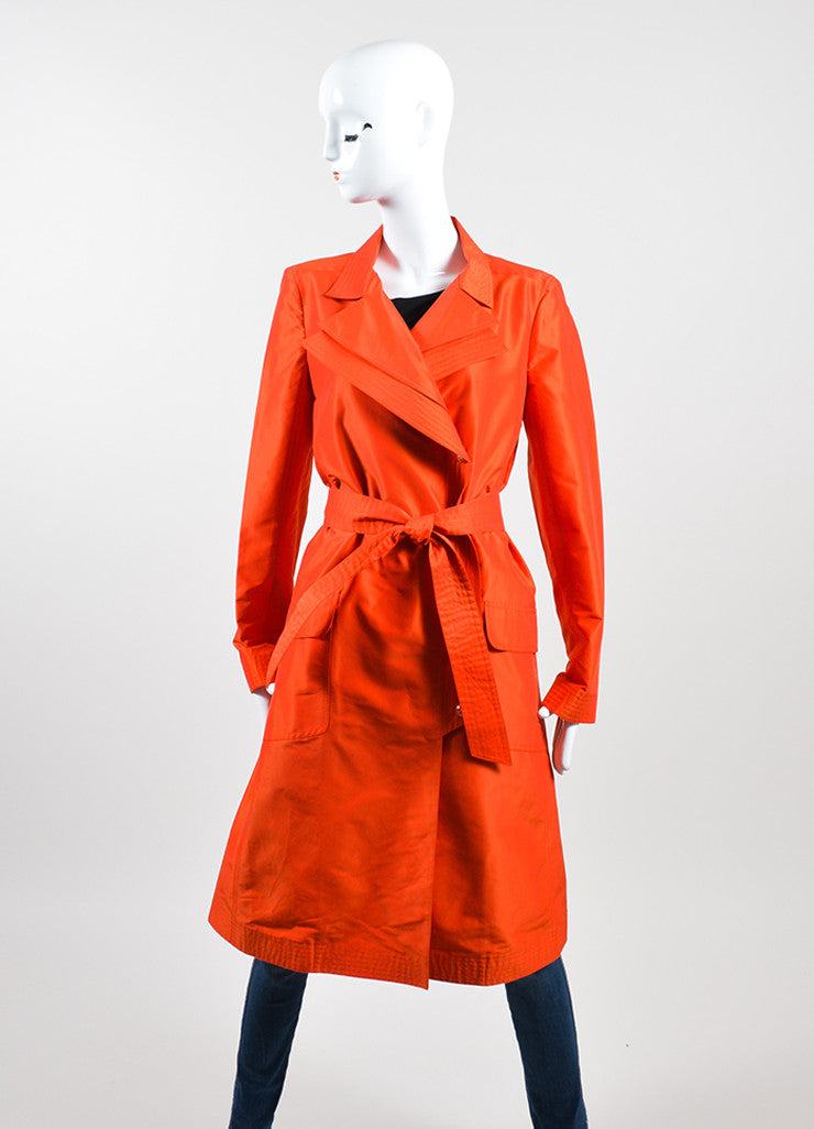 Tomato Red Chanel Silk Belted Trench Jacket Frontview 2