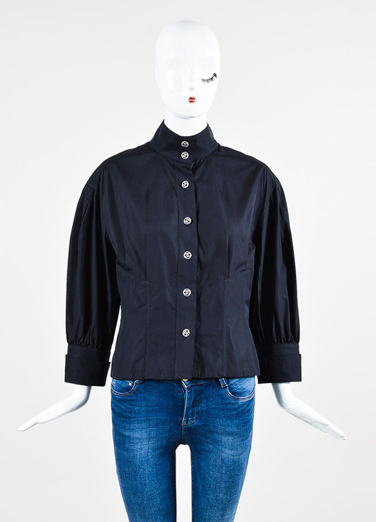 Navy Cotton 'CC' Button Stand Collar Puff Sleeve Blouse Frontview