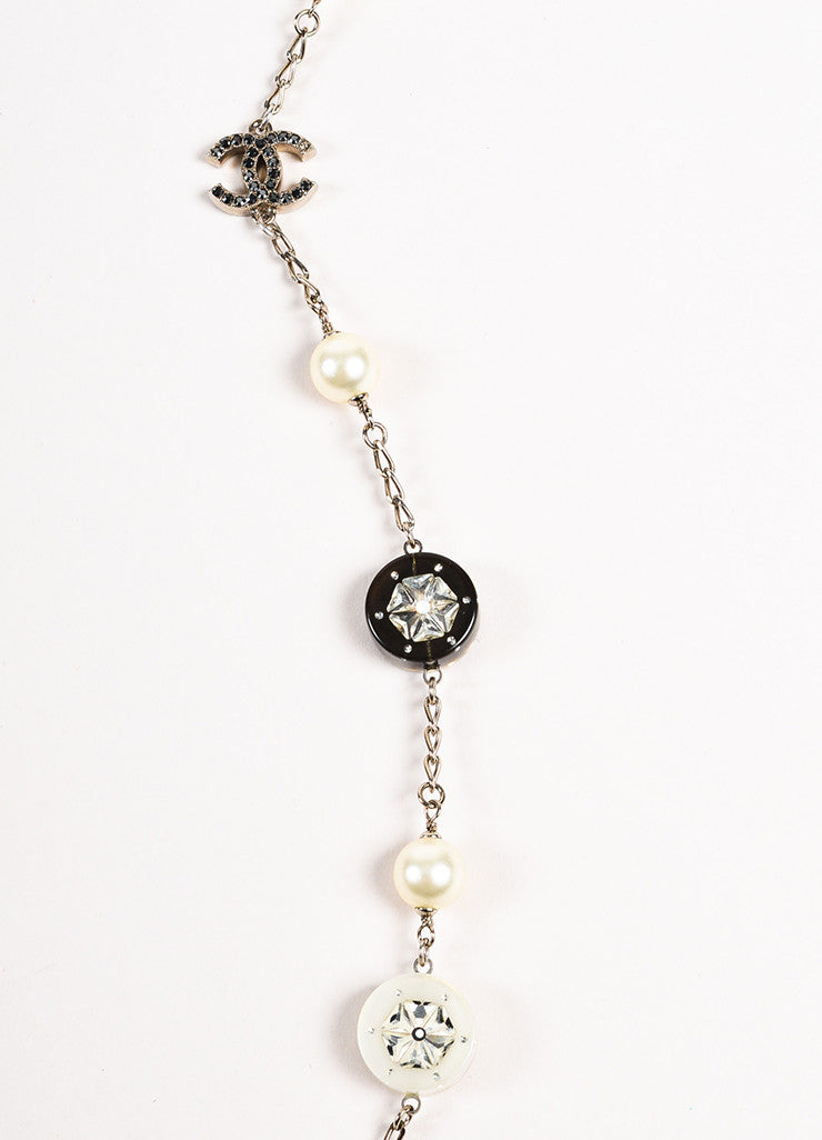 Chanel Silver Toned White Black Faux Pearl Crystal Station Strand Necklace Detail 2