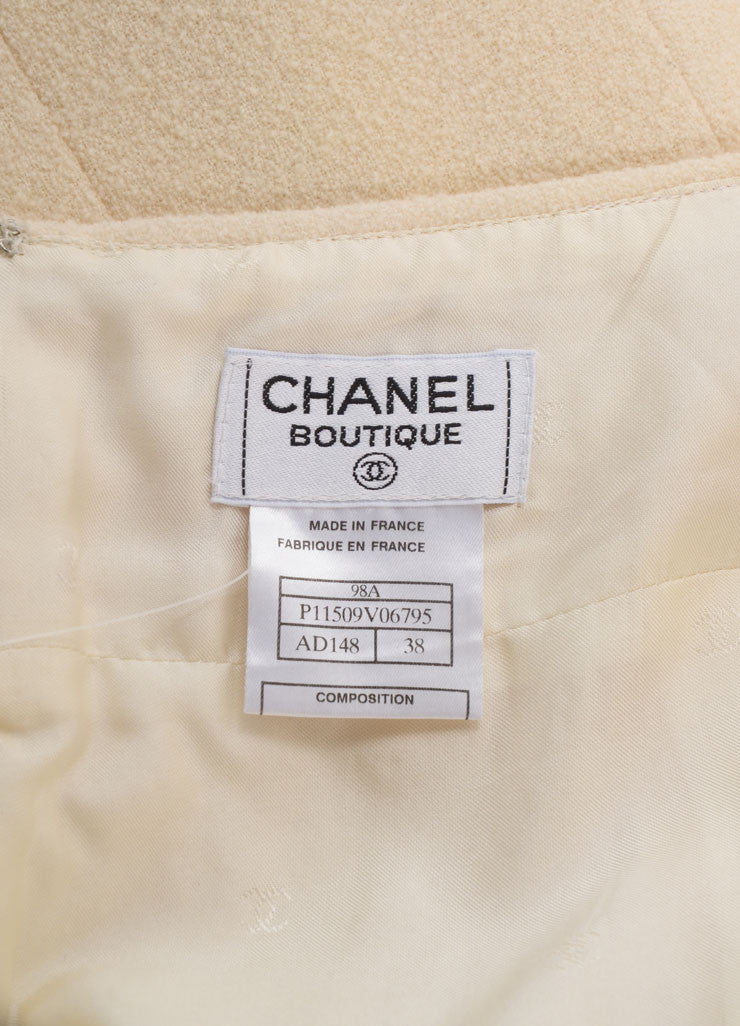 Chanel Cream Wool Boucle Knit Pencil Skirt Brand