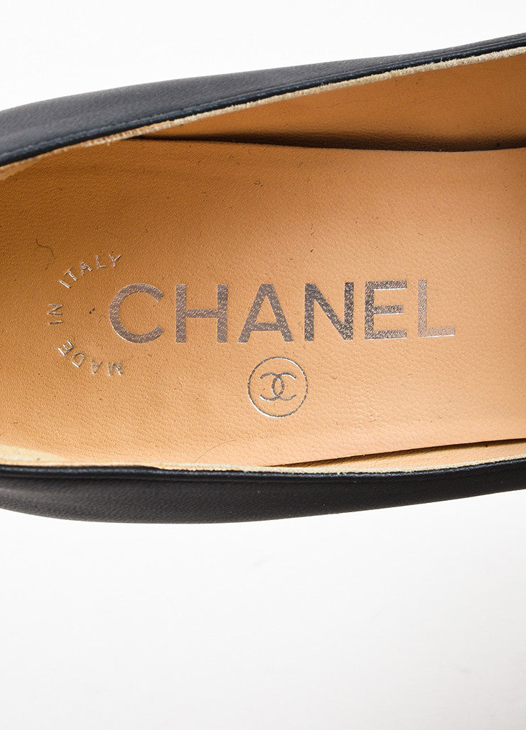Chanel Black Leather Silver Toned Chain Detail 'CC' Cap Toe Wedge Pumps Brand