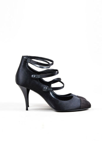 Black Chanel Satin Cap Toe Triple Strap Button High Heels Sideview