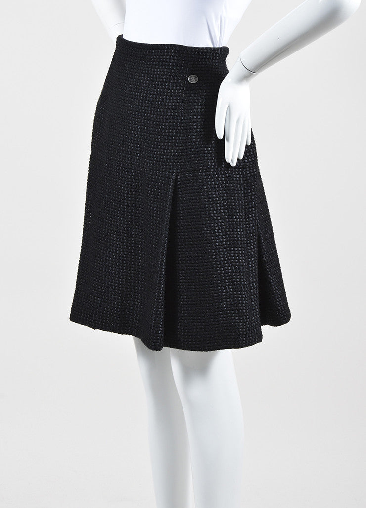 Black Chanel Wool and Silk Tweed Pleated A-Line Skirt Sideview