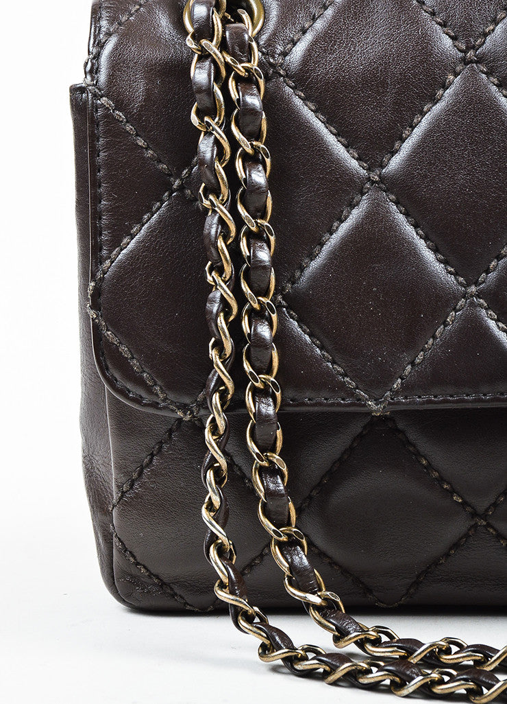 Chanel Brown Quilted Leather Classic Flap Medium Shoulder Bag Detail 2