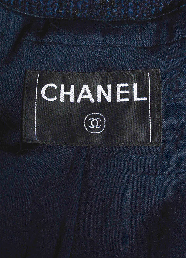 Navy Blue and Black Chanel Woven Knit Asymmetrical Lapel Jacket Brand