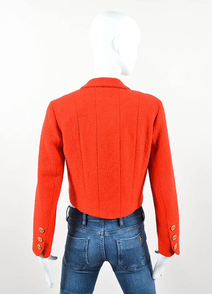 "Chanel Red Boucle ""CC"" Logo Button Cropped Blazer Backview"