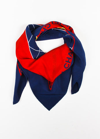 Chanel Red and Navy Blue Silk Quilted Bag Chain Print Square Scarf Frontview