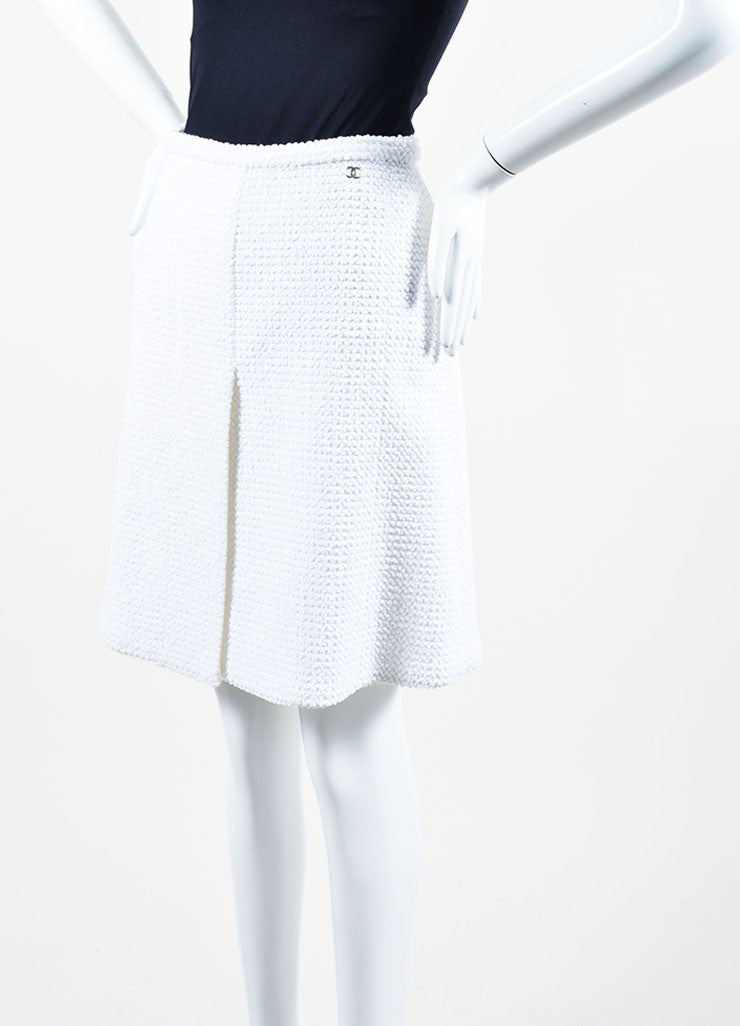 White Chanel Cotton Blend Boucle Slit A-Line Skirt Frontview