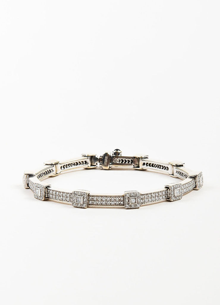 "Charriol 18K White Gold and Diamonds ""Flamme Blanche"" Tennis Bracelet Frontview"