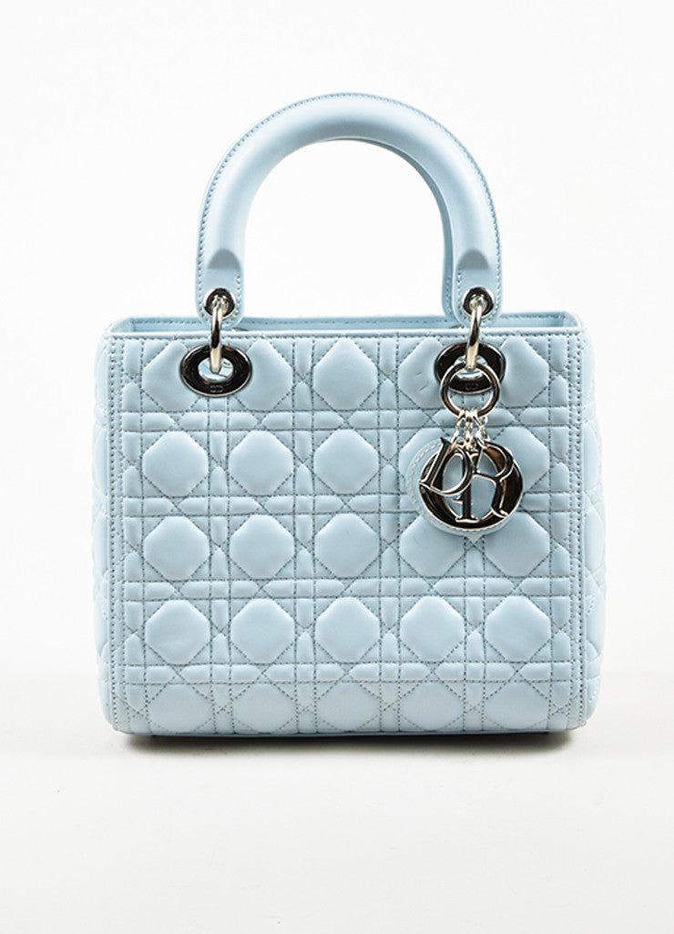 Baby Blue Christian Dior Leather Medium Lady Dior Tote Front