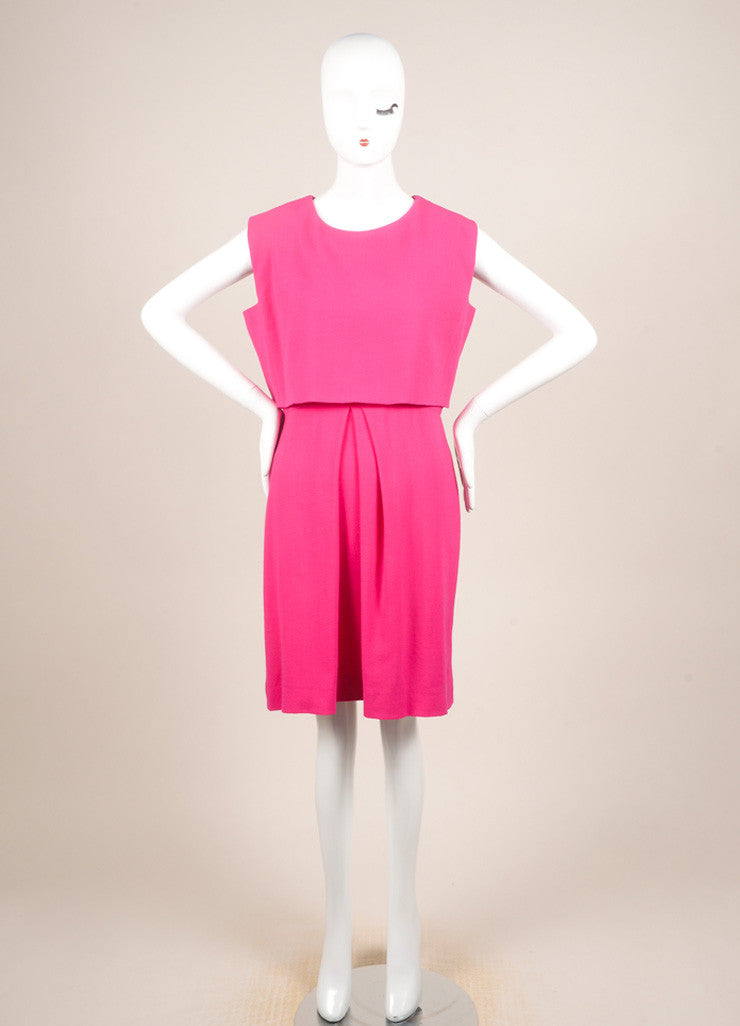 Christian Dior Fuchsia Wool Two Layer Sleeveless Dress Frontview