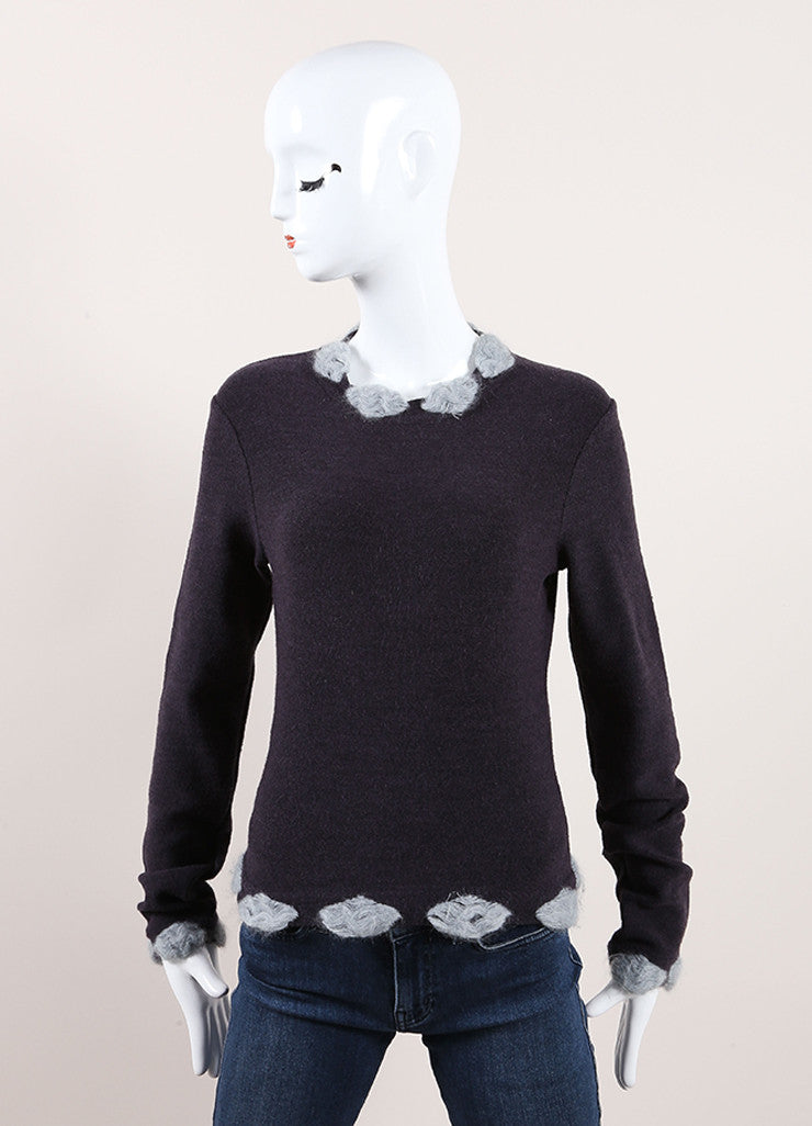 Christian Dior Grey and Light Blue Wool Blend Pom Pom Long Sleeve Sweater Frontview