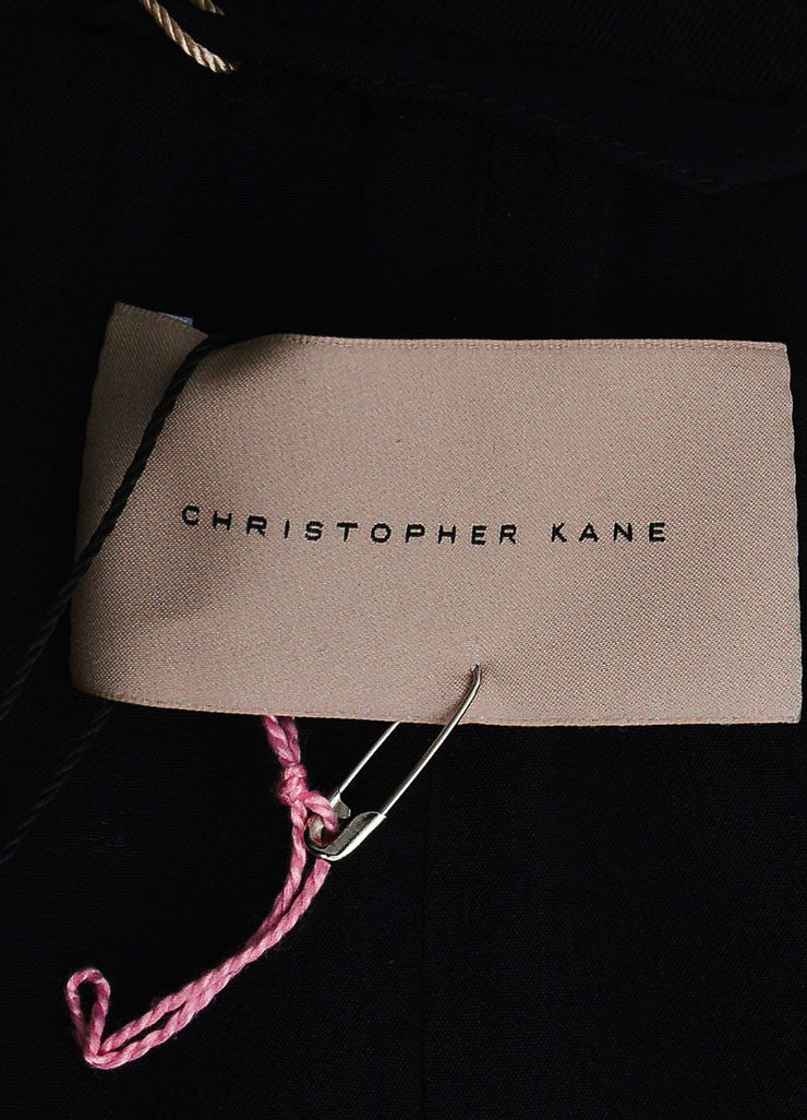Black Christopher Kane Leather Trim Floral Embroider Trench Coat Brand
