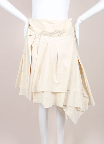 Comme des Garcons New With Tags Cream Heavyweight Asymmetric Layered Cotton Skirt Frontview