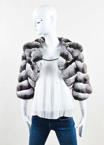 Dennis Basso Black and White Chinchilla Fur Crop Sleeve Shrug Jacket Frontview