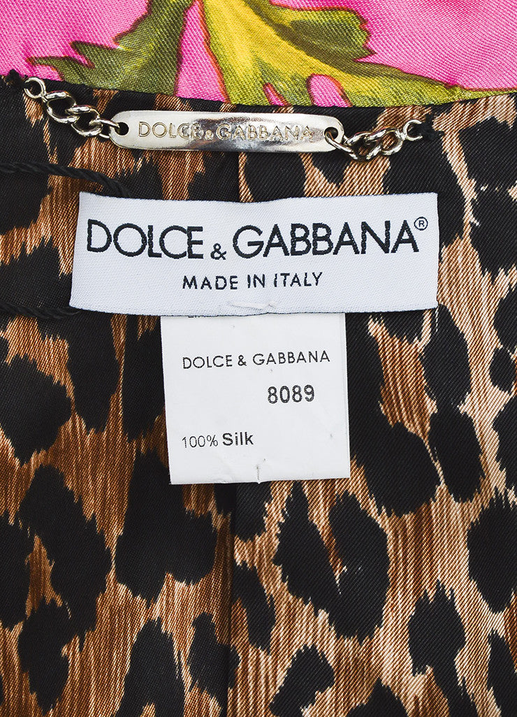 Dolce & Gabbana Pink Multicolor Silk Floral Print Long Sleeve Blazer Brand