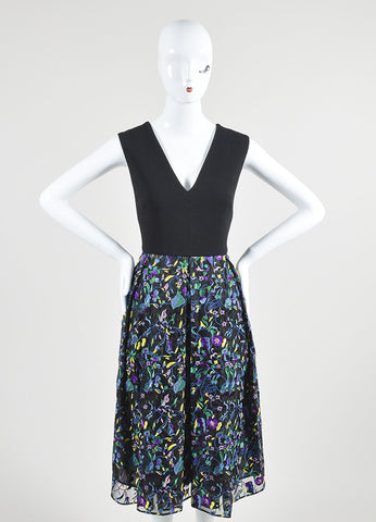 "Black and Multicolor Erdem Wool and Silk Floral Embroidered ""Loren"" Dress Frontview"