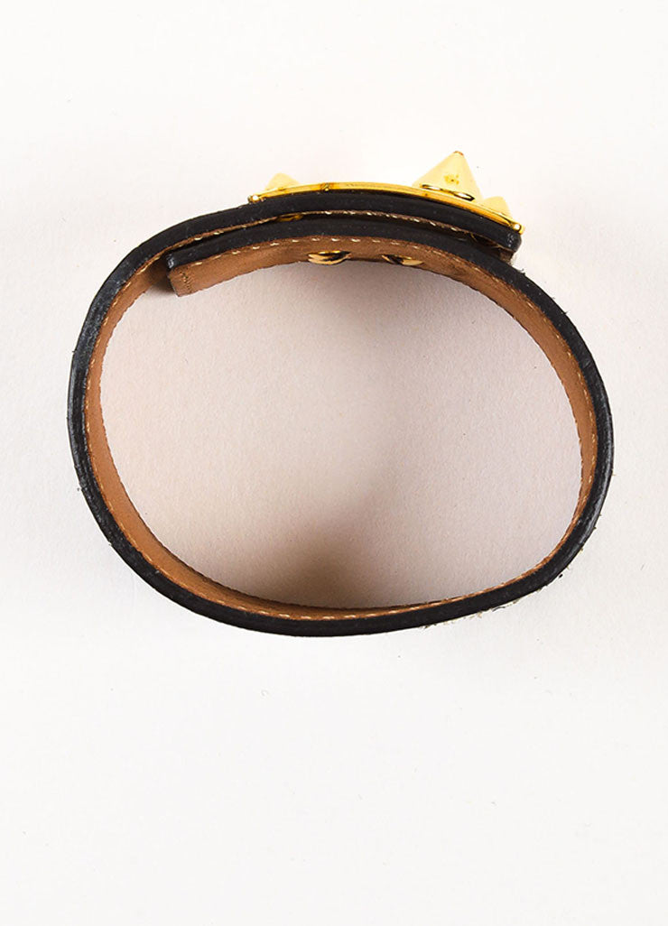 "Fendi Gold Toned, Black, and Cream Snakeskin Leather ""Goldmine"" Wide Bracelet Topview"