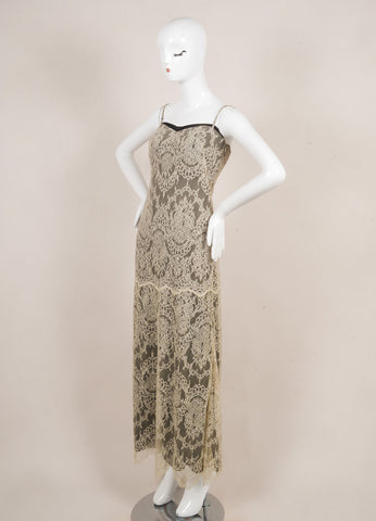 Giorgio Armani Cream and Black Spaghetti Strap Floral Lace Gown Sideview