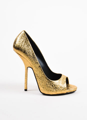 Giuseppe Zanotti Gold Metallic Textured Leather Peep Toe High Heels Side