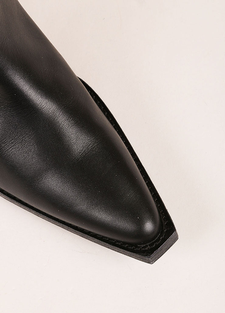 Givenchy Black Leather Knee High Cowboy Boots Detail