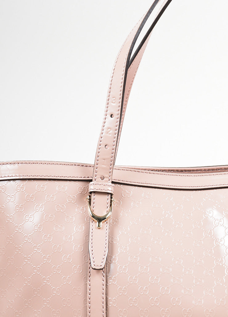 "Pink Gucci Patent Leather Monogram Embossed ""Microguccissima"" Tote Bag Detail 2"