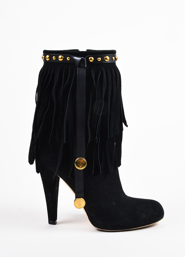 "Gucci Black and Gold Toned Suede Fringe Studded ""Devendra"" Ankle Boots Sideview"