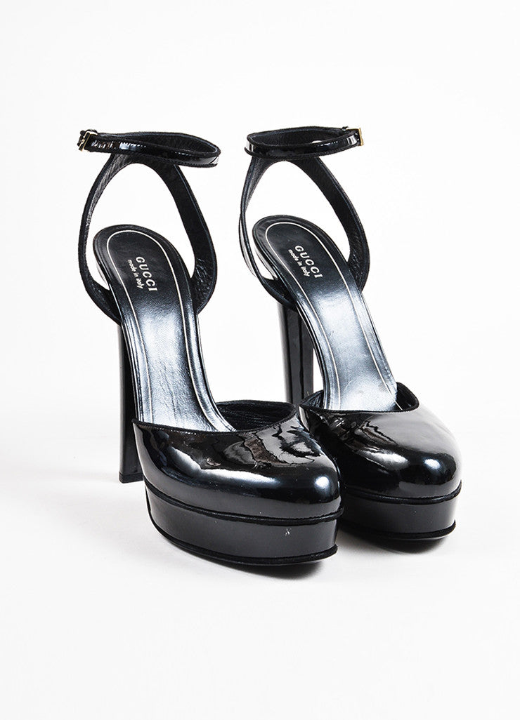 Gucci Black Patent Leather Round Toe Platform Pumps Frontview