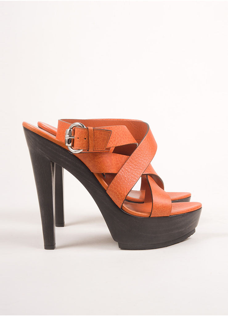 Gucci New Orange Leather Wood Platform Strappy Sandals Sideview