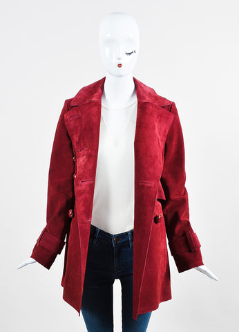 Burgundy Red Gucci Suede Double Breasted Coat Frontview