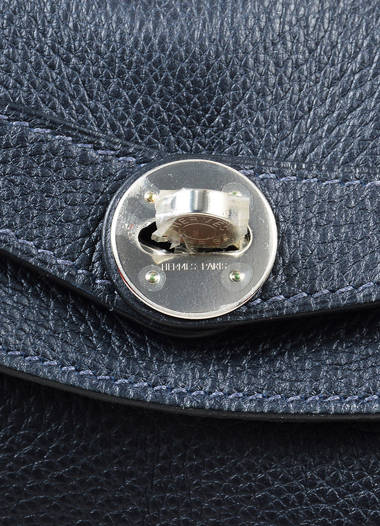 "Midnight Blue Hermes Clemence Leather Large ""Lindy"" Convertible Bag"