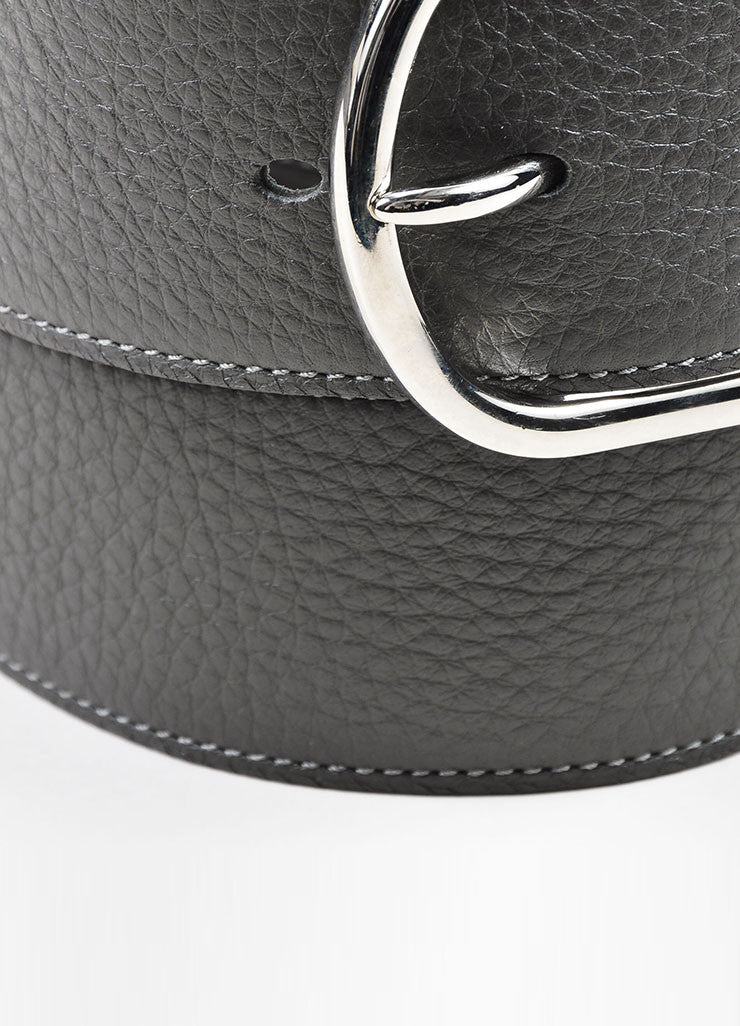 Charcoal Grey and Silver Toned Hermes Pebble Leather Belt Detail